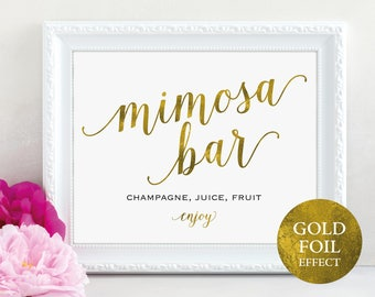 Gold Mimosa Bar Sign, Mimosa Bar Printable, Mimosa Bar Enjoy, Wedding Sign, Wedding Printable, Wedding Drinks, PDF Instant Download, MM01-3