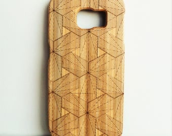 WOODEN PHONE CASE Samsung hexagons laser etched bamboo (wooden Samsung S6 edge case)