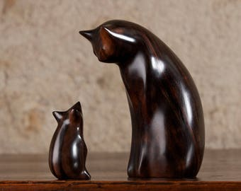 Black Cat and Mouse Sculpture Carved From Macassar Ebony Wood by Perry Lancaster, Original Contemporary Design