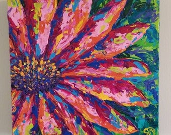 Original Flower Painting/Acrylic/Impressionist/Bright Colors/Modern/Palette Knife/Daisy/Impasto Floral Abstract/Pink/Wall Art/Texture/Canvas