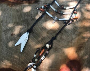"NATIVE AMERICAN Inspired ""Breastplate necklace"" Leather, Bone beads, snake vertebra,"