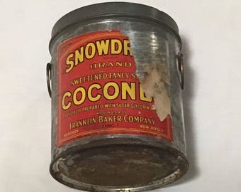 Antique Snowdrift Coconut Salesman's Advertising Tin