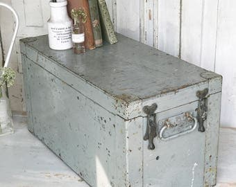 A vintage chippy painted Engineer's instrument box or tool chest