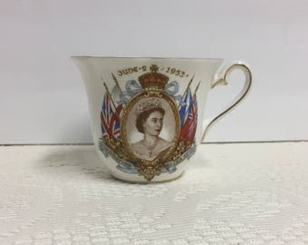 Elizabeth II, Coronation, 1953, Commemorative Tea Cup, Royalty, Royalty Collectible, Queen Elizabeth II, June 2 1953, Collectible, Royalty