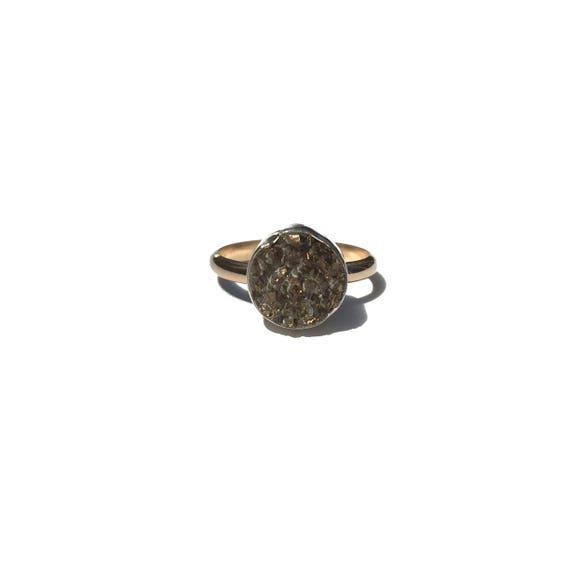 mixed metal druzy ring, size 8 3/4