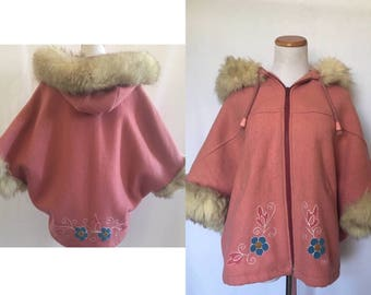 vintage 70's PINK BOHEMIAN CAPE - Northern Sun, Gemini, 100% wool, poncho, small