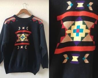 vintage 90's BLACK SOUTHWESTERN SWEATER - Liz Claiborne, small, medium