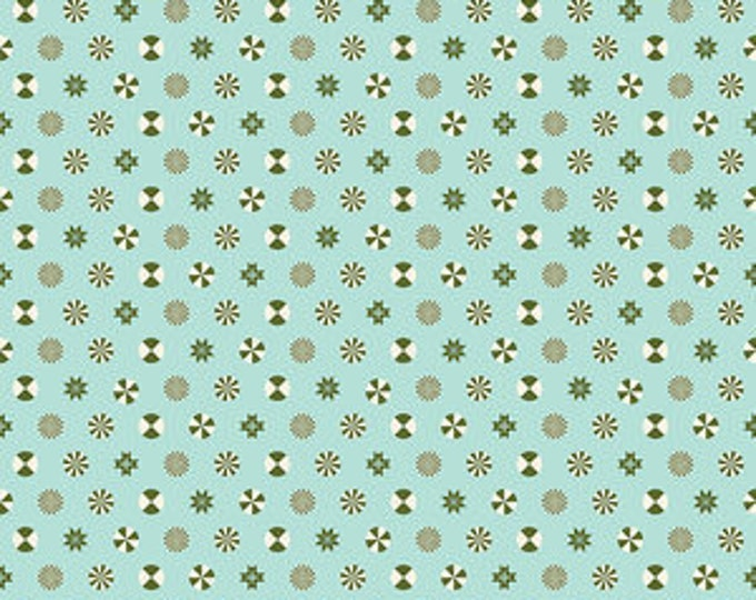 Peppermint Stars in Pine Fresh- Holiday Homies by Tula Pink- Holiday Fabric