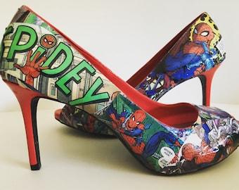 Spider-Man Peep-Toe Heels (Size 8.5)