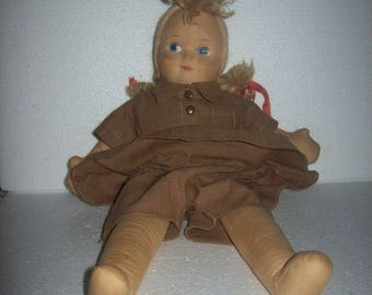 Vintage FABRIC BROWNIES DOLL in Brownie Uniform Outfit