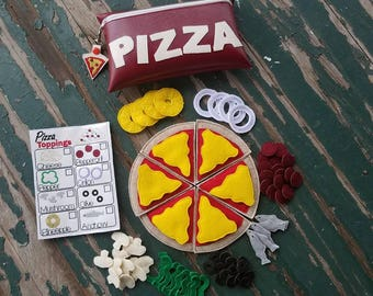 Play Food , Felt and Vinyl Food , Build Your Own Pizza Play Set , Pizza Set with 8 Toppings , Sold Individually or as a Set