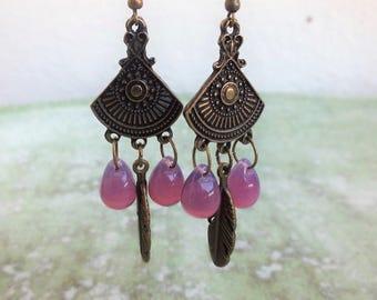Boho earrings,Chandelier Earrings, Ethnic Earrings, Feather Earrings,Teardrop earrings, Gypsy earrings