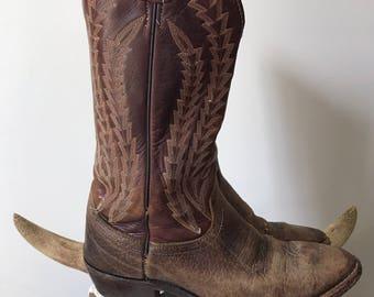 J Chisholm Vintage Brown Leather Rugged Cowboy Boots // Western Boots // Men's 8.5 D