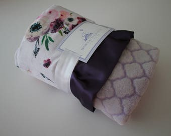 Floral Print on a Pale Lilac Background with Plush Spa Tile Lattice Minky Back and Eggplant Purple Satin Trim - Crib Bedding, Baby Shower
