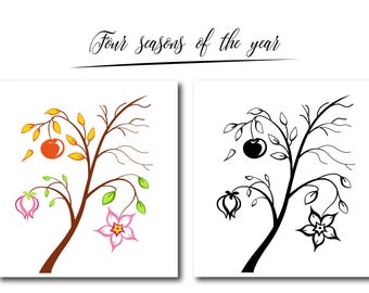"""Cute """"Four Seasons of the year"""" card, digital card, clip art, printable, vector, instant download, illustration,branch, eps"""