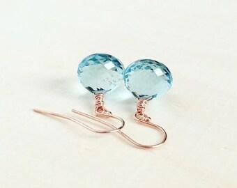 25% OFF SALE SALE! Stunning, Aaa Aqua Quartz Briolettes in 14k Rose Gold Fill, Gemstone Earrings, Aqua Blue, Anniversary Gift, Rose Gold Ear