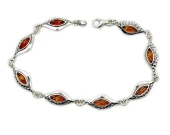 Flames of Desire Baltic Amber Bracelet & Sterling Silver Bracele , Jewelry AE337