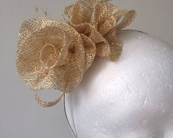 NEW Gold flowered fascinator with feathers on a metal headband! Stunning!