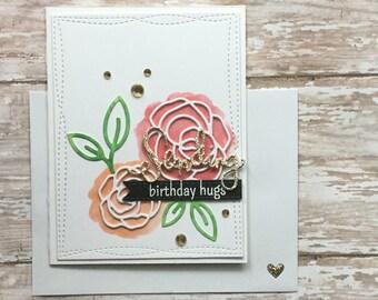 Shimmer Painted Roses- Sending Birthday Hugs!