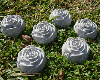 Solid Concrete Garden Lawn Ornaments Rose Buds Petals Set of 6