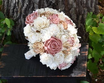 Wedding Bouquet Rustic Bouquet Sola Bouquet Champagne Bouquet  Ivory Bouquet  Bouquet Dusty Pink Bouquet Pink Champagne Bouquet Sola Flower