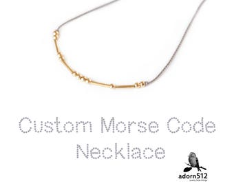 Personalized Memorial Necklace - In Remembrance Jewelry for Loved Ones - Morse Code - Made with  14K Gold Beads And Silk