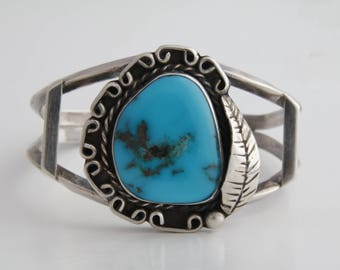 Native American turquoise and sterling silver cuff bracelet / Navajo turquoise silver cuff bracelet / Native American cuff / boho cuff/ 2149