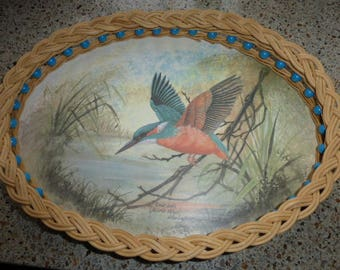 Sweet vintage 1970s Melamine tray Cane Work decorated with Kingfisher