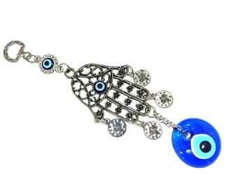 D-0040 - 4cm Lucky Evil Eye, Hamsa Hand Wall Hanging Gift for Protection & Good Luck