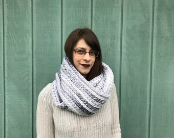 Ready to ship crochet white marble scarf, infinity scarf, circle scarf, textured infinity scarf, crochet cowl, womans scarf, double loop
