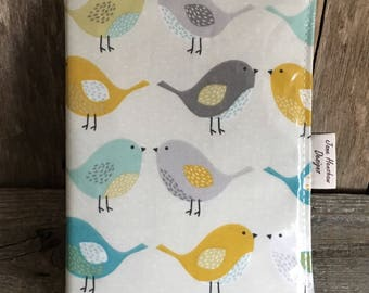 A5 diary cover,book cover,journal cover, oilcloth diary cover,planner cover,birds oilcloth