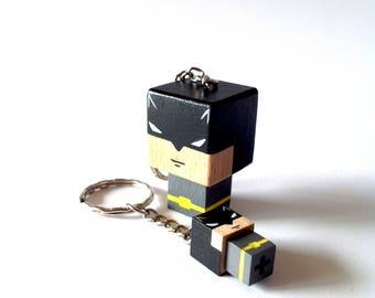 """Porte-clés Figurine cubique Super-Héros """"Batman"""" - peinte à la main"""