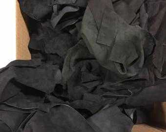Lot of leather scraps black lamb suede hide skin - 5 Lb