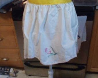 Child's Apron # 13 Embroideried flower apron