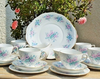 Colclough Blue Roses tea set for six.