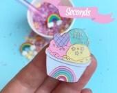 Rainbow enamel pin, cute lapel pin, Sale pins, Seconds pin sale, enamel pin, pug pin, food pin, food jewellery, ice cream pin