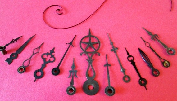 12 Assorted Antique Brass and Steel Clock Hands for your Clock Projects, Steampunk Art, Jewelry Making - Gothic / Midevil Look