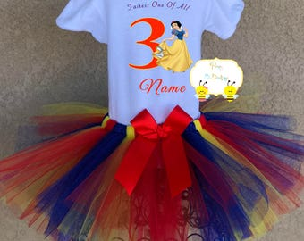 Snow White Inspired Tutu Outfit, Baby Snow White Tutu, Snow White Onesie, Snow White Shirt, Snow White Birthday Tutu, Snow White Tutu Set