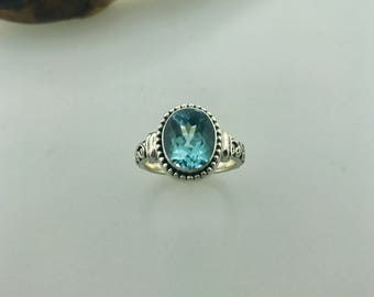 Sterling Silver & Blue Topaz Statement Ring