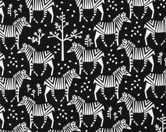 Black & White Zebra Fabric, Michael Miller, Midnight Safari