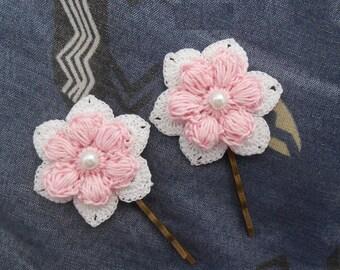 hair clip wedding cotton pink crochet flower