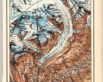Vintage map of the Aletsch Glacier from 1897 #00211