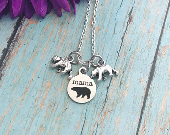 mama bear necklace - mother - mama bear pendant with bear cubs mom necklace - protective mama bear - choose number of cubs