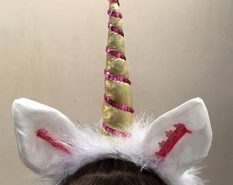 Unicorn Headpiece, Unicorn Horn with ears, Unicorn horn headband for girls, Pony Unicorn Costume, Unicorn party, Photography Prop outfit