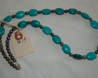 T-19 Native American Necklace, Silver Beads ??, Turquoise stones