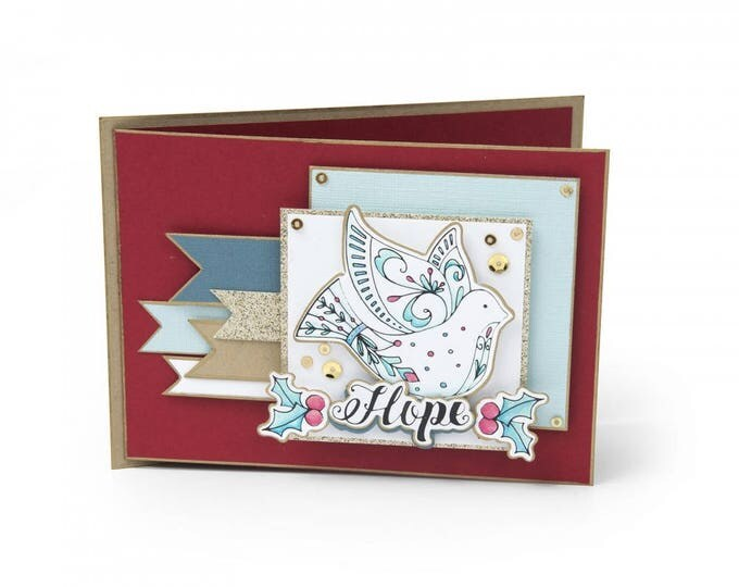New! Sizzix Framelits Die Set 4PK w/Clear Stamps - Dove by Katelyn Lizardi 662463