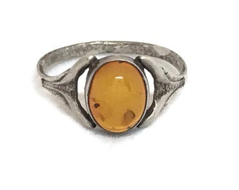 Sterling Silver Honey Amber Ring, Real Amber 925 Baltic Amber, Vintage Rustic Amber Ring, Polished Gemstone Ring Size 7.25