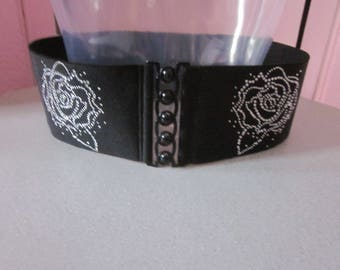 1980s Black Cinch Belt with Embellishment