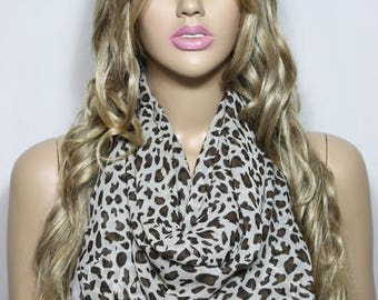 Infinity Scarf, Silky Chiffon So Soft Lightweight Cheetah Scarf, Loop Scarf, Animal Print Scarf For Her-ESCHERPE