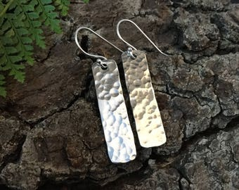 Dangle earrings, hammered earrings, hammered silver, gift for her, girlfriend gift, gift for mum, beaten silver earrings, drop earrings